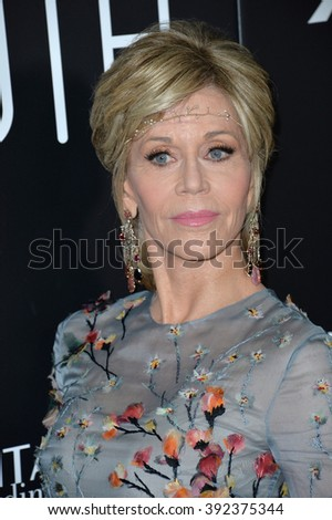 """LOS ANGELES, CA - NOVEMBER 17, 2015: Actress Jane Fonda at the Los Angeles premiere of her movie """"Youth"""" at the Directors Guild of America - stock photo"""