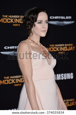 """LOS ANGELES, CA - NOVEMBER 16, 2015: Actress Jena Malone at the Los Angeles premiere of her movie """"The Hunger Games: Mockingjay - Part 2"""" at the Microsoft Theatre, LA Live.  - stock photo"""