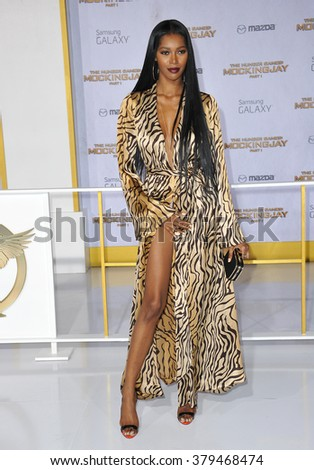 "LOS ANGELES, CA - NOVEMBER 17, 2014: Actress/model Jessica White at the Los Angeles premiere of ""The Hunger Games: Mockingjay Part One"" at the Nokia Theatre LA Live. - stock photo"