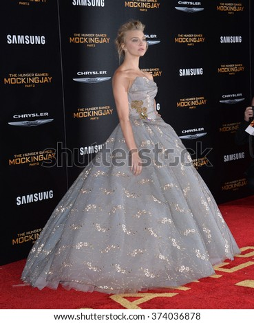 """LOS ANGELES, CA - NOVEMBER 16, 2015: Actress Natalie Dormer at the Los Angeles premiere of her movie """"The Hunger Games: Mockingjay - Part 2"""" at the Microsoft Theatre, LA Live.  - stock photo"""