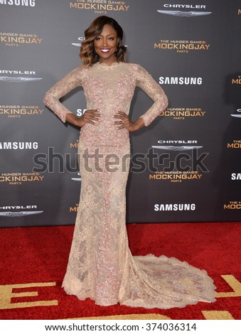 """LOS ANGELES, CA - NOVEMBER 16, 2015: Actress Patina Miller at the Los Angeles premiere of her movie """"The Hunger Games: Mockingjay - Part 2"""" at the Microsoft Theatre, LA Live.  - stock photo"""