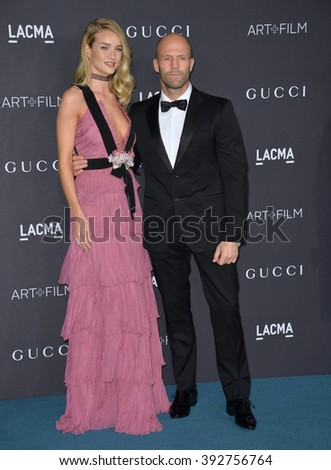 LOS ANGELES, CA - NOVEMBER 7, 2015: Actress Rosie Huntington-Whiteley & actor Jason Statham at the 2015 LACMA Art+Film Gala at the Los Angeles County Museum of Art