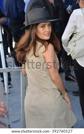 LOS ANGELES, CA - NOVEMBER 5, 2015: Actress Salma Hayek on Hollywood Boulevard where director Ridley Scott was honored with a star on the Walk of Fame
