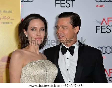 "LOS ANGELES, CA - NOVEMBER 5, 2015: Actress/writer/director Angelina Jolie & actor husband Brad Pitt at the AFI Festival premiere of their movie ""By the Sea"" at the TCL Chinese Theatre, Hollywood."