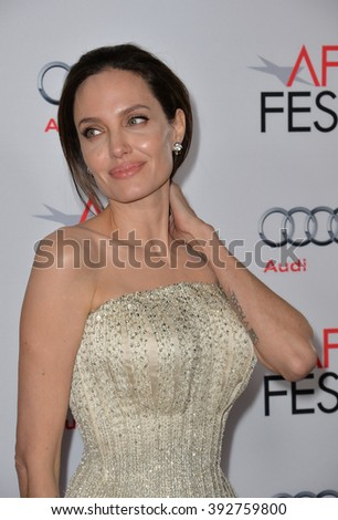 """LOS ANGELES, CA - NOVEMBER 5, 2015: Actress/writer/director Angelina Jolie at the AFI Festival premiere of her movie """"By the Sea"""" at the TCL Chinese Theatre - stock photo"""
