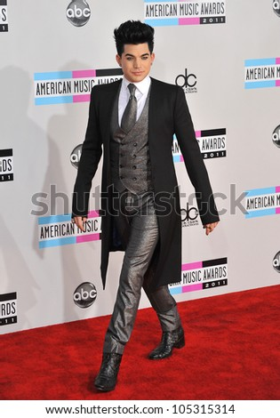 LOS ANGELES, CA - NOVEMBER 20, 2011: Adam Lambert arriving at the 2011 American Music Awards at the Nokia Theatre, L.A. Live in downtown Los Angeles. November 20, 2011  Los Angeles, CA