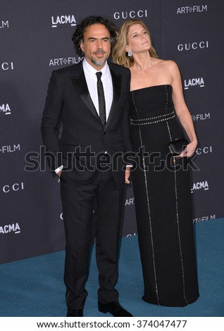 LOS ANGELES, CA - NOVEMBER 7, 2015: Alejandro Gonzalez Inarritu & wife Maria Eladia Hagerman at the 2015 LACMA Art+Film Gala at the Los Angeles County Museum of Art.