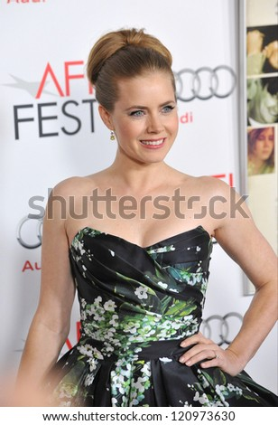 "LOS ANGELES, CA - NOVEMBER 3, 2012: Amy Adams at the AFI Fest premiere of her movie ""On The Road"" at Grauman's Chinese Theatre, Hollywood."