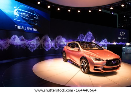 LOS ANGELES, CA - NOVEMBER 20: An Infiniti Q30 concept car on exhibit at the Los Angeles Auto Show in Los Angeles, CA on November 20, 2013 - stock photo