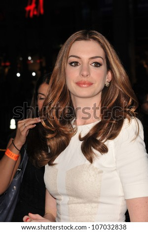 """LOS ANGELES, CA - NOVEMBER 4, 2010: Anne Hathaway at the world premiere of her new movie """"Love & Other Drugs"""" at Grauman's Chinese Theatre, Hollywood. - stock photo"""