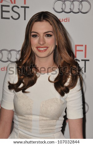 "LOS ANGELES, CA - NOVEMBER 4, 2010: Anne Hathaway at the world premiere of her new movie ""Love & Other Drugs"" at Grauman's Chinese Theatre, Hollywood."