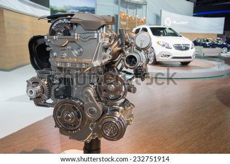 Los Angeles, CA - November 19, 2014: Buick engine on display on display at the LA Auto Show