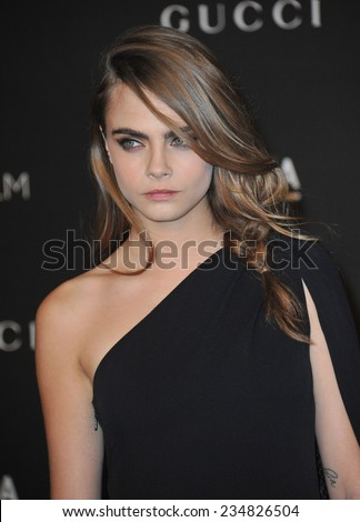 LOS ANGELES, CA - NOVEMBER 1, 2014: Cara Delevingne at the 2014 LACMA Art+Film Gala at the Los Angeles County Museum of Art.  - stock photo