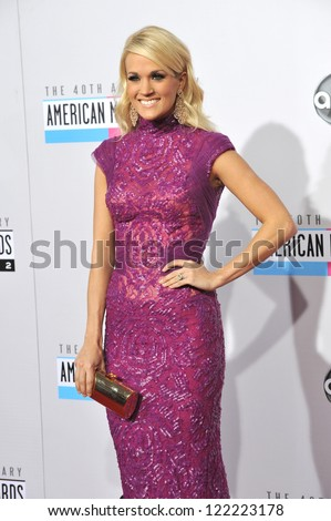 LOS ANGELES, CA - NOVEMBER 18, 2012: Carrie Underwood at the 40th Anniversary American Music Awards at the Nokia Theatre LA Live.