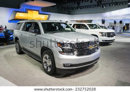 Los Angeles, CA - November 19, 2014: Chevrolet Suburban 2015 on display on display at the LA Auto Show - stock photo