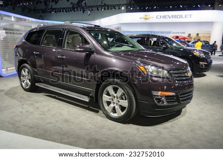 Los Angeles, CA - November 19, 2014: Chevrolet Traverse 2015 on display on display at the LA Auto Show - stock photo