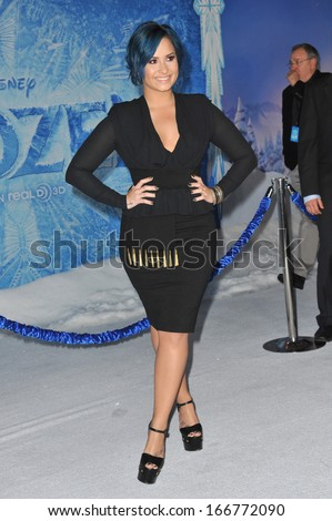 "LOS ANGELES, CA - NOVEMBER 19, 2013: Demi Lovato at the premiere of her movie ""Frozen"" at the El Capitan Theatre, Hollywood.  - stock photo"