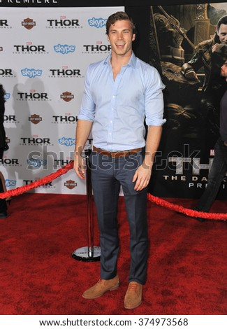 "LOS ANGELES, CA - NOVEMBER 4, 2013: Derek Theler at the US premiere of ""Thor: The Dark World"" at the El Capitan Theatre, Hollywood. Picture: Paul Smith / Featureflash - stock photo"
