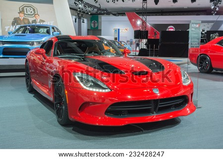 Los Angeles, CA - November 19, 2014: Dodge Viper on display on display at the LA Auto Show