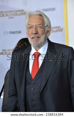 """LOS ANGELES, CA - NOVEMBER 17, 2014: Donald Sutherland at the Los Angeles premiere of his movie """"The Hunger Games: Mockingjay Part One"""" at the Nokia Theatre LA Live.  - stock photo"""