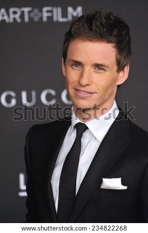 LOS ANGELES, CA - NOVEMBER 1, 2014: Eddie Redmayne at the 2014 LACMA Art+Film Gala at the Los Angeles County Museum of Art.  - stock photo