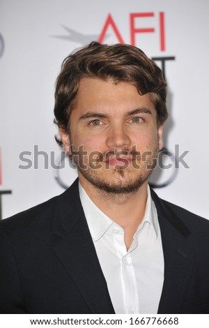 "LOS ANGELES, CA - NOVEMBER 12, 2013: Emile Hirsch at the world premiere of his movie ""Lone Survivor"", part of the AFI Fest 2013, at the TCL Chinese Theatre, Hollywood."