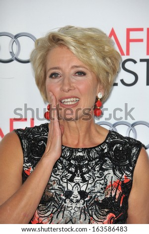 "LOS ANGELES, CA - NOVEMBER 7, 2013: Emma Thompson at the premiere of her movie ""Saving Mr Banks"", the opening movie of the AFI FEST 2013, at the TCL Chinese Theatre, Hollywood."