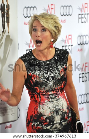 "LOS ANGELES, CA - NOVEMBER 7, 2013: Emma Thompson at the premiere of her movie ""Saving Mr Banks"" at the TCL Chinese Theatre, Hollywood. Picture: Paul Smith / Featureflash"