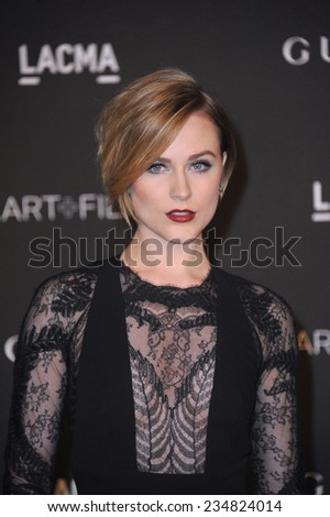 LOS ANGELES, CA - NOVEMBER 1, 2014: Evan Rachel Wood at the 2014 LACMA Art+Film Gala at the Los Angeles County Museum of Art.  - stock photo