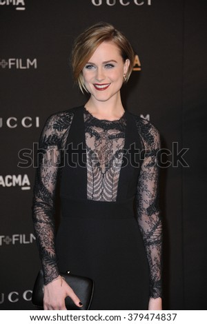 LOS ANGELES, CA - NOVEMBER 1, 2014: Evan Rachel Wood at the 2014 LACMA Art+Film Gala at the Los Angeles County Museum of Art.