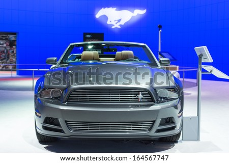 LOS ANGELES, CA. NOVEMBER 20:Ford Mustang convertible car on display at the LA Auto Show LA Auto Show at the L.A. Convention Center on November 20, 2013 in Los Angeles, CA
