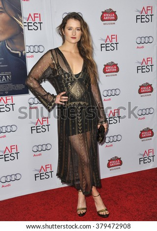 "LOS ANGELES, CA - NOVEMBER 11, 2014: Grace Gummer at the gala screening of her movie ""The Homesman"" as part of the AFI Fest 2014 at the Dolby Theatre, Hollywood."