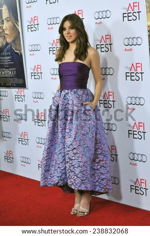 "LOS ANGELES, CA - NOVEMBER 11, 2014: Hailee Steinfeld at the gala screening of her movie ""The Homesman"" as part of the AFI Fest 2014 at the Dolby Theatre, Hollywood."