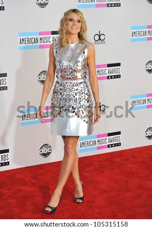 LOS ANGELES, CA - NOVEMBER 20, 2011: Heidi Klum arriving at the 2011 American Music Awards at the Nokia Theatre, L.A. Live in downtown Los Angeles. November 20, 2011  Los Angeles, CA