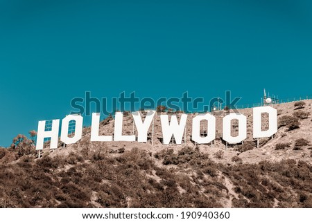 LOS ANGELES, CA - NOVEMBER 19, 2013: Hollywood sigh white letters on Mount Lee seen on November 19, 2013 in Los Angeles, California. Vintage version - stock photo