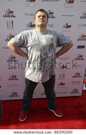 LOS ANGELES, CA - NOVEMBER 06: Jack Black arrives at A Day Of Champions Benefiting the Bogart Pediatric Cancer Research Program at Sports Museum of Los Angeles on November 6, 2011. - stock photo