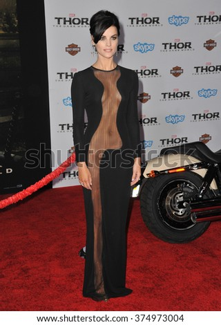 "LOS ANGELES, CA - NOVEMBER 4, 2013: Jaimie Alexander at the US premiere of her movie ""Thor: The Dark World"" at the El Capitan Theatre, Hollywood. Picture: Paul Smith / Featureflash - stock photo"