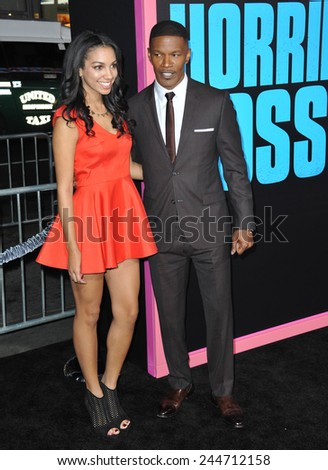 """LOS ANGELES, CA - NOVEMBER 4, 2014: Jamie Foxx & daughter Corinne Bishop at the Los Angeles premiere of his movie """"Horrible Bosses 2"""" at the TCL Chinese Theatre, Hollywood.  - stock photo"""