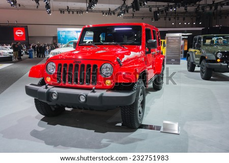 Los Angeles, CA - November 19, 2014: Jeep Wrangler 2015  on display at the LA  Auto Show