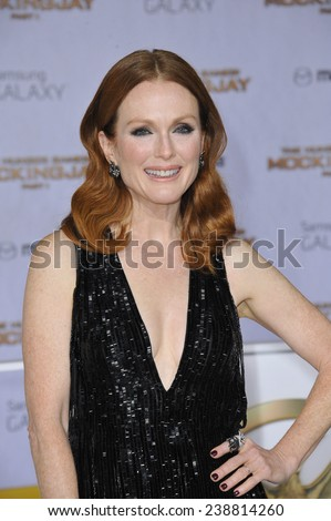 """LOS ANGELES, CA - NOVEMBER 17, 2014: Julianne Moore at the Los Angeles premiere of her movie """"The Hunger Games: Mockingjay Part One"""" at the Nokia Theatre LA Live.  - stock photo"""