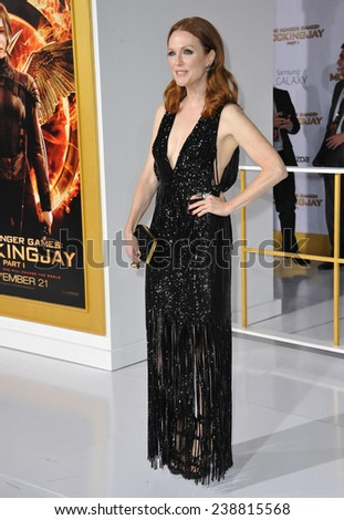 "LOS ANGELES, CA - NOVEMBER 17, 2014: Julianne Moore at the Los Angeles premiere of her movie ""The Hunger Games: Mockingjay Part One"" at the Nokia Theatre LA Live.  - stock photo"