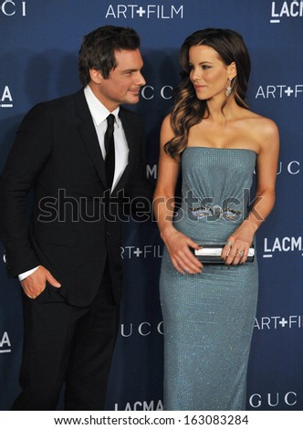 LOS ANGELES, CA - NOVEMBER 2, 2013: Kate Beckinsale & husband Len Wiseman at the 2013 LACMA Art+Film Gala at the Los Angeles County Museum of Art.  - stock photo