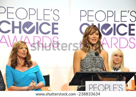 LOS ANGELES, CA - NOVEMBER 4, 2014: Katharine McPhee with Allison Janney (left) & Anna Faris at the nominations announcement for the 2015 People's Choice Awards at the Paley Center for Media.  - stock photo