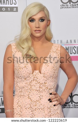 LOS ANGELES, CA - NOVEMBER 18, 2012: Ke$ha at the 40th Anniversary American Music Awards at the Nokia Theatre LA Live.