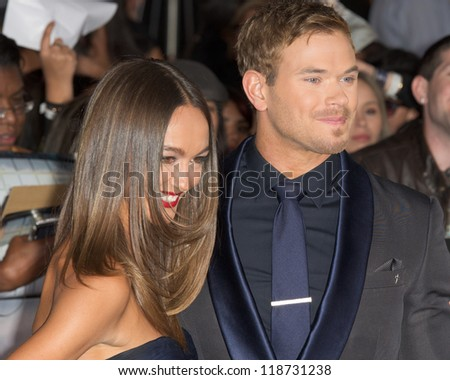 LOS ANGELES, CA - NOVEMBER 12: Kellan Lutz and Sharni Vinson arrive at the premiere of The Twilight Saga: Breaking Dawn - Part 2 at the Nokia Theater in Los Angeles, CA on November 12, 2012