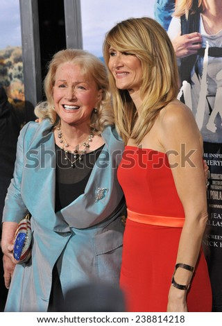 """LOS ANGELES, CA - NOVEMBER 19, 2014: Laura Dern & mother Diane Ladd at the Los Angeles premiere of Dern's movie """"Wild"""" at the Samuel Goldwyn Theatre, Beverly Hills.  - stock photo"""