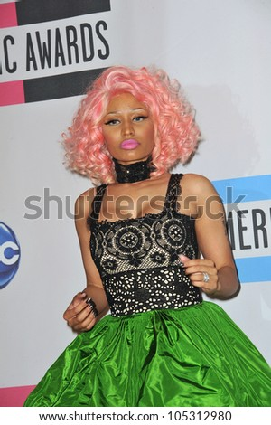 LOS ANGELES, CA - NOVEMBER 20, 2011: Nicki Minaj at the 2011 American Music Awards at the Nokia Theatre L.A. Live in downtown Los Angeles. November 20, 2011  Los Angeles, CA - stock photo