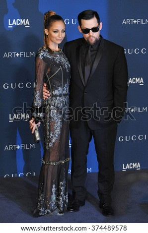 LOS ANGELES, CA - NOVEMBER 2, 2013: Nicole Richie & husband Joel Madden at the 2013 LACMA Art+Film Gala at the Los Angeles County Museum of Art.Picture: Paul Smith / Featureflash - stock photo