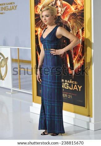 "LOS ANGELES, CA - NOVEMBER 17, 2014: Peyton List at the Los Angeles premiere of ""The Hunger Games: Mockingjay Part One"" at the Nokia Theatre LA Live.  - stock photo"