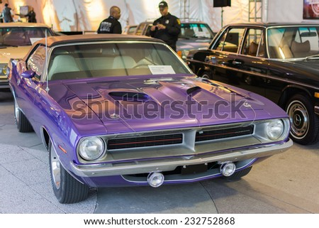 Los Angeles, CA - November 19, 2014: Plymouth Barracuda convertible on display on display at the LA Auto Show - stock photo